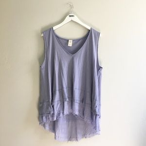Free People Lilac High Low Raw Hem Top Periwinkle
